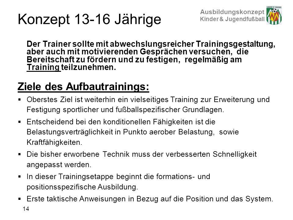 Ausbildungskonzept Kinder & Jugendfußball Konzept 13-16 Jährige Der Trainer sollte mit abwechslungsreicher Trainingsgestaltung, aber auch mit motivier