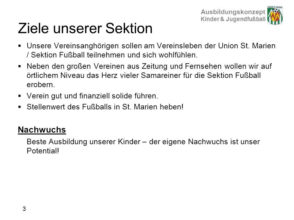 Ausbildungskonzept Kinder & Jugendfußball Ziele unserer Sektion Unsere Vereinsanghörigen sollen am Vereinsleben der Union St. Marien / Sektion Fußball