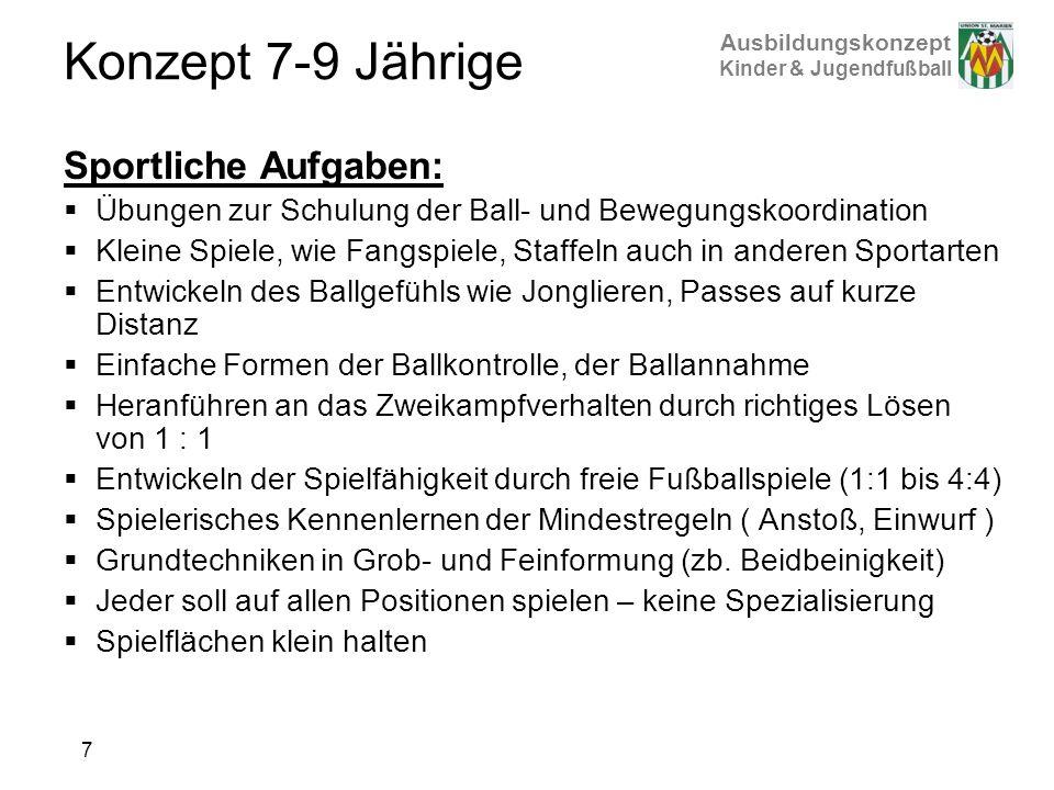 Ausbildungskonzept Kinder & Jugendfußball Konzept 7-9 Jährige Sportliche Aufgaben: Übungen zur Schulung der Ball- und Bewegungskoordination Kleine Spi