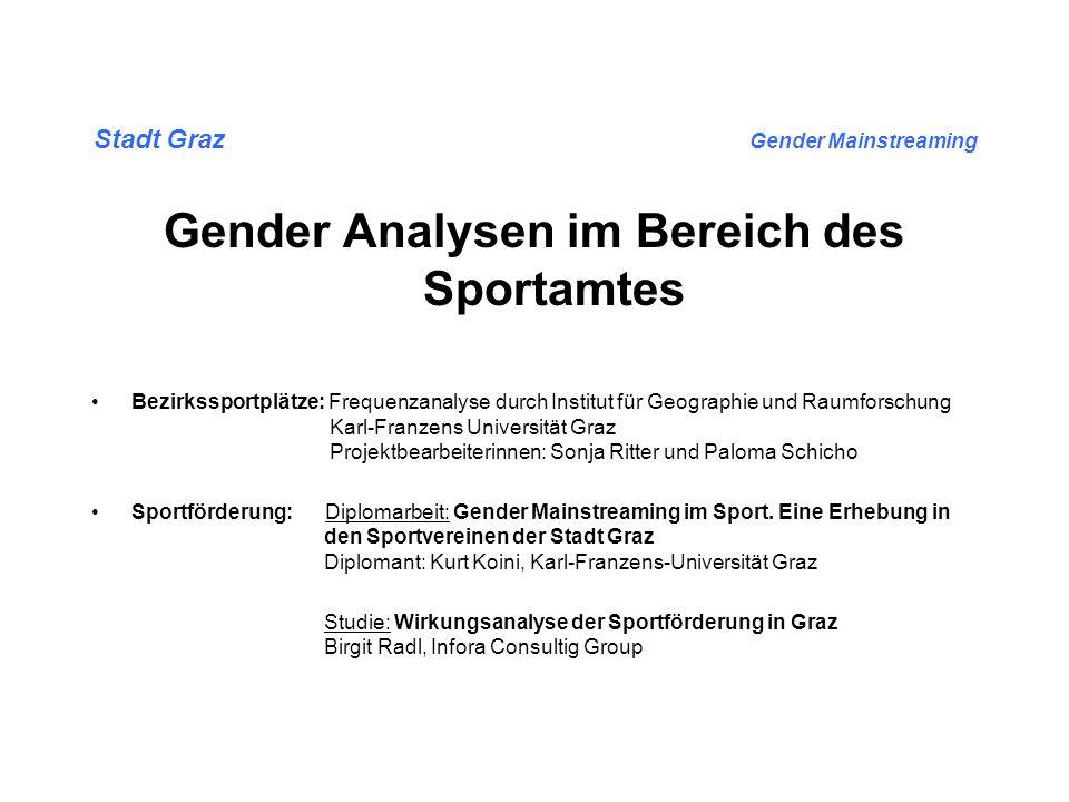 Stadt Graz Gender Mainstreaming Gender Analysen im Bereich des Sportamtes Analyse – BEZIRKSSPORTPLÄTZE: 5 Bezirkssportplätze unterschiedlicher Lage und Ausstattung wurden analysiert.