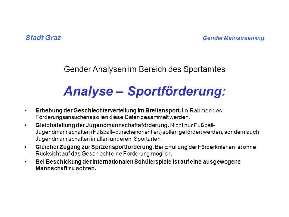 Stadt Graz Gender Mainstreaming Gender Analysen im Bereich des Sportamtes Analyse – Sportförderung: Erhebung der Geschlechterverteilung im Breitensport.