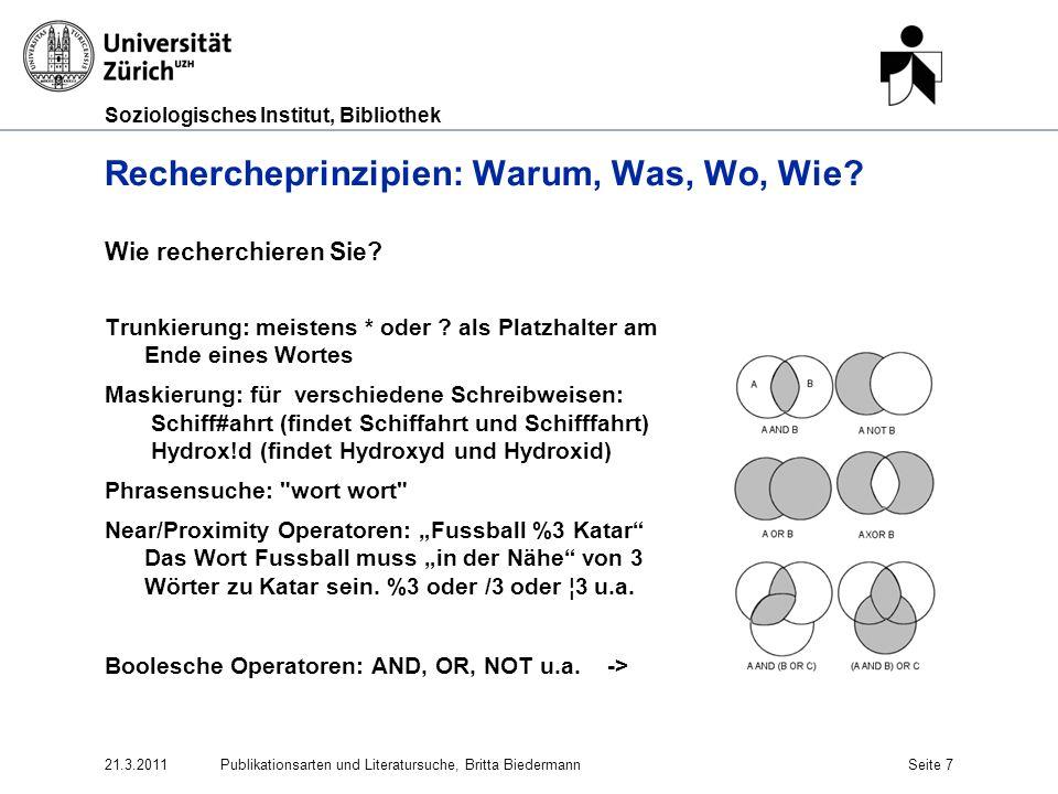 Soziologisches Institut, Bibliothek Informationssuche ist ein Prozess (www.big6.com) 4.