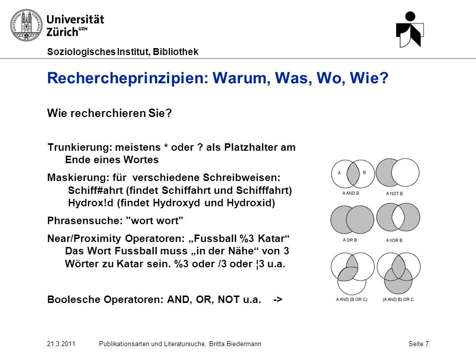 Soziologisches Institut, Bibliothek Kataloge (Repetition) Kataloge (Kurzrepetition) Zürich: IDS Zürich Universität + NEBIS http://www.informationsverbund.ch/ http://www.informationsverbund.ch/ Schweizweit: SwissBib: www.swissbib.ch Swiss Libraries (Switch) http://www.switch.ch/de/edu/libraries/ Schweizer Virtueller Katalog http://www.chvk.ch/www.swissbib.chhttp://www.switch.ch/de/edu/libraries/http://www.chvk.ch/ Weltweit: Karlsruher Virtueller Katalog http://www.ubka.uni- karlsruhe.de/kvk.html WorldCat www.worldcat.org/http://www.ubka.uni- karlsruhe.de/kvk.htmlwww.worldcat.org/