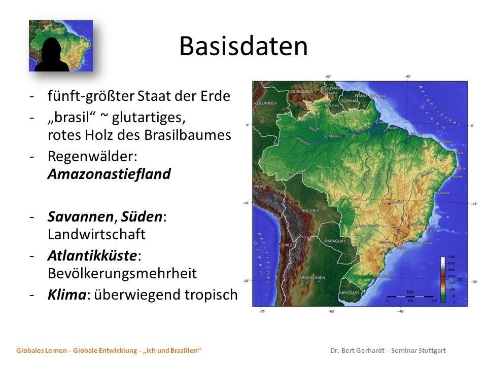 Basisdaten -fünft-größter Staat der Erde -brasil ~ glutartiges, rotes Holz des Brasilbaumes -Regenwälder: Amazonastiefland -Savannen, Süden: Landwirts