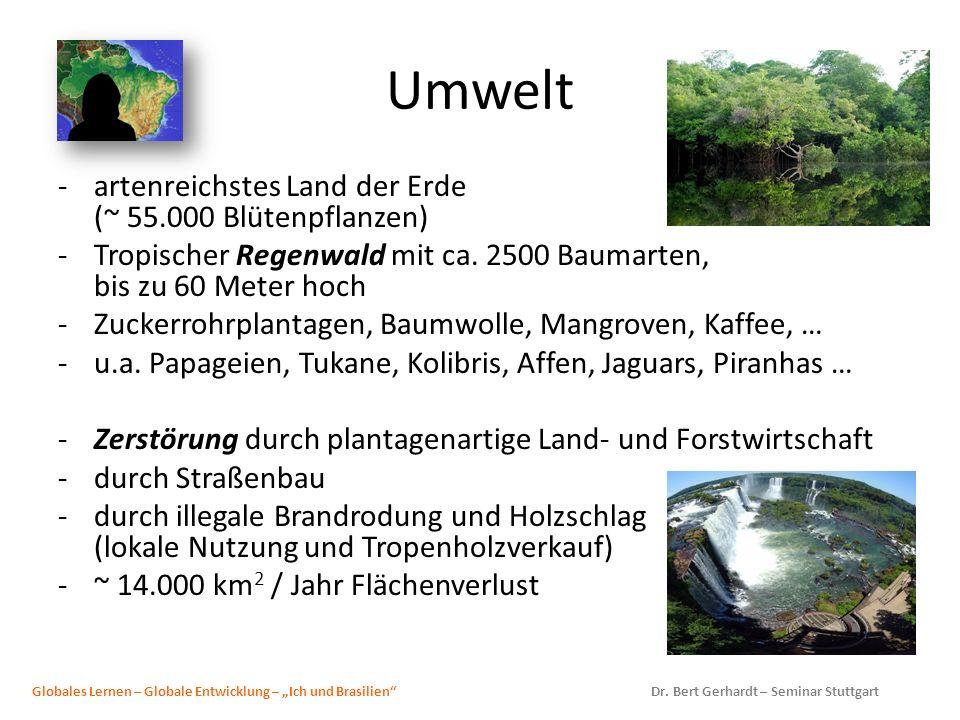 Umwelt -artenreichstes Land der Erde (~ 55.000 Blütenpflanzen) -Tropischer Regenwald mit ca. 2500 Baumarten, bis zu 60 Meter hoch -Zuckerrohrplantagen