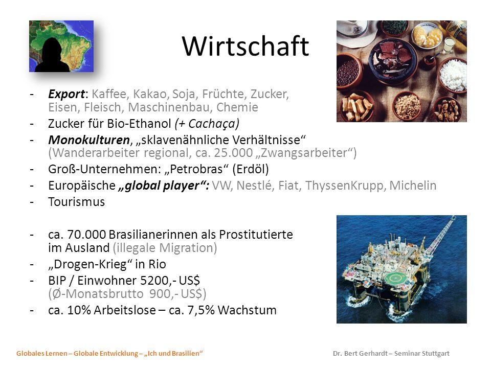 Wirtschaft -Export: Kaffee, Kakao, Soja, Früchte, Zucker, Eisen, Fleisch, Maschinenbau, Chemie -Zucker für Bio-Ethanol (+ Cachaça) -Monokulturen, skla