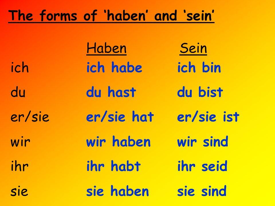 The forms of haben and sein HabenSein ich du er/sie wir ihr sie ich bin du bist er/sie ist wir sind ihr seid sie sind ich habe du hast er/sie hat wir