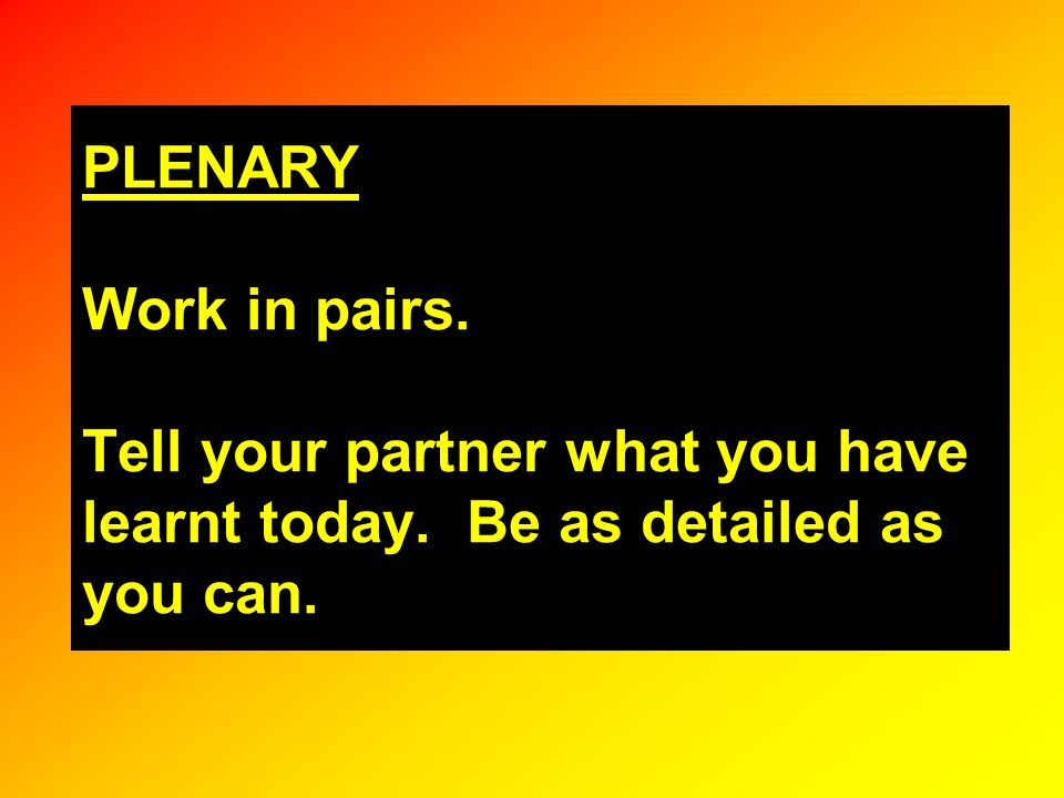 PLENARY Work in pairs. Tell your partner what you have learnt today. Be as detailed as you can.