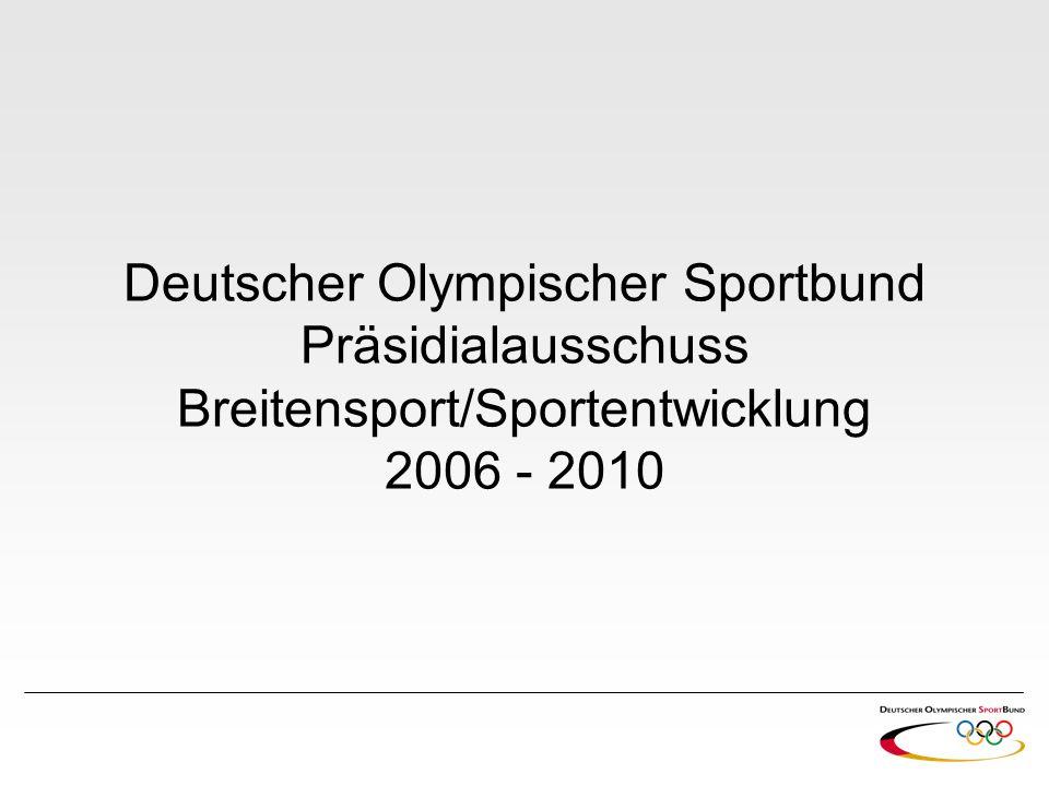 Walter Schneeloch (Vorsitzender) DOSB-Vizepräsident Breitensport/Sportentwicklung Präsident Landessportbund Nordrhein-Westfalen Lehrer, Schulleiter, Sportdezernent bei RP Köln 1989 Beigeordneter der Stadt Gummersbach (u.a.