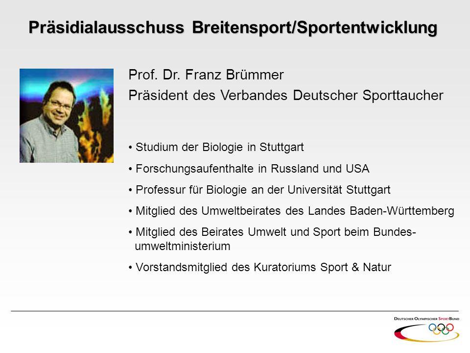 Prof. Dr. Franz Brümmer Präsident des Verbandes Deutscher Sporttaucher Studium der Biologie in Stuttgart Forschungsaufenthalte in Russland und USA Pro