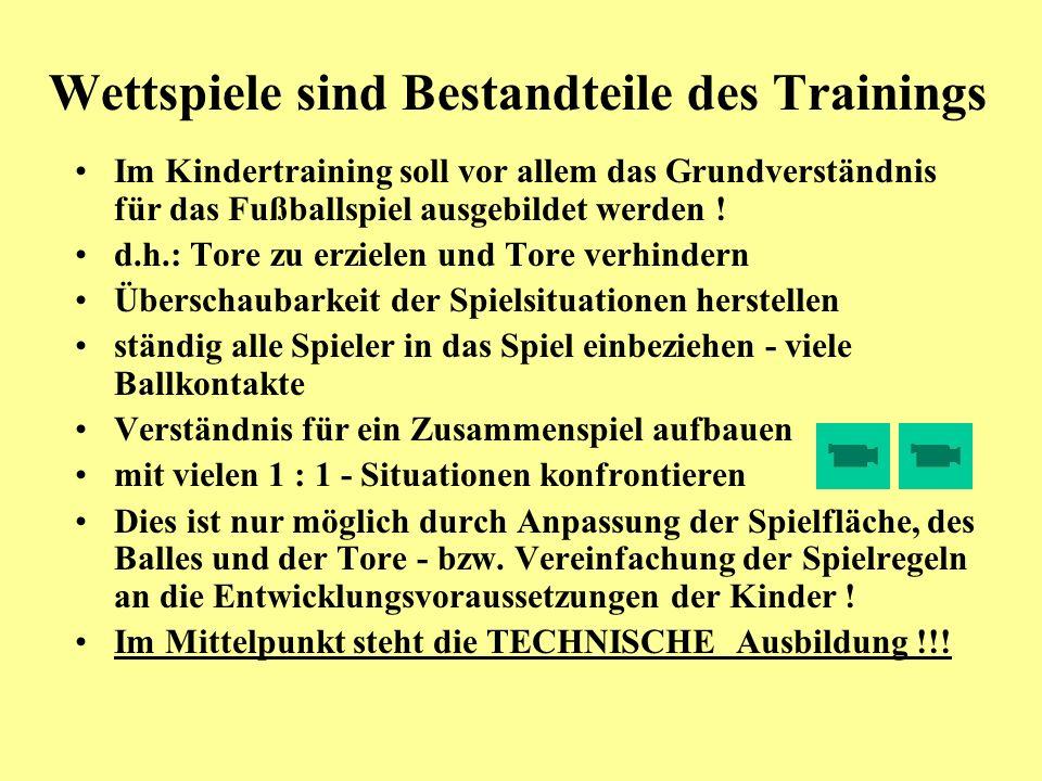Wettspiele sind Bestandteile des Trainings Im Kindertraining soll vor allem das Grundverständnis für das Fußballspiel ausgebildet werden ! d.h.: Tore