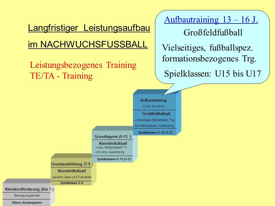 13 bis 16 Jahre Kleinkindförderung (bis 7.) Grundausbildung (7-9 ) Grundlagentr.(9-13 ) Aufbautraining Kleinfeldfußball Großfeldfußball - viels. fußba