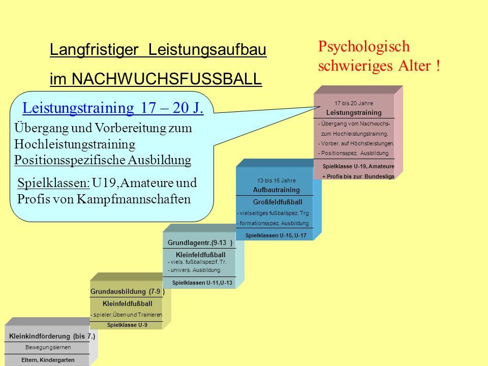 13 bis 16 Jahre 17 bis 20 Jahre Kleinkindförderung (bis 7.) Grundausbildung (7-9 ) Grundlagentr.(9-13 ) Aufbautraining Leistungstraining Kleinfeldfußb