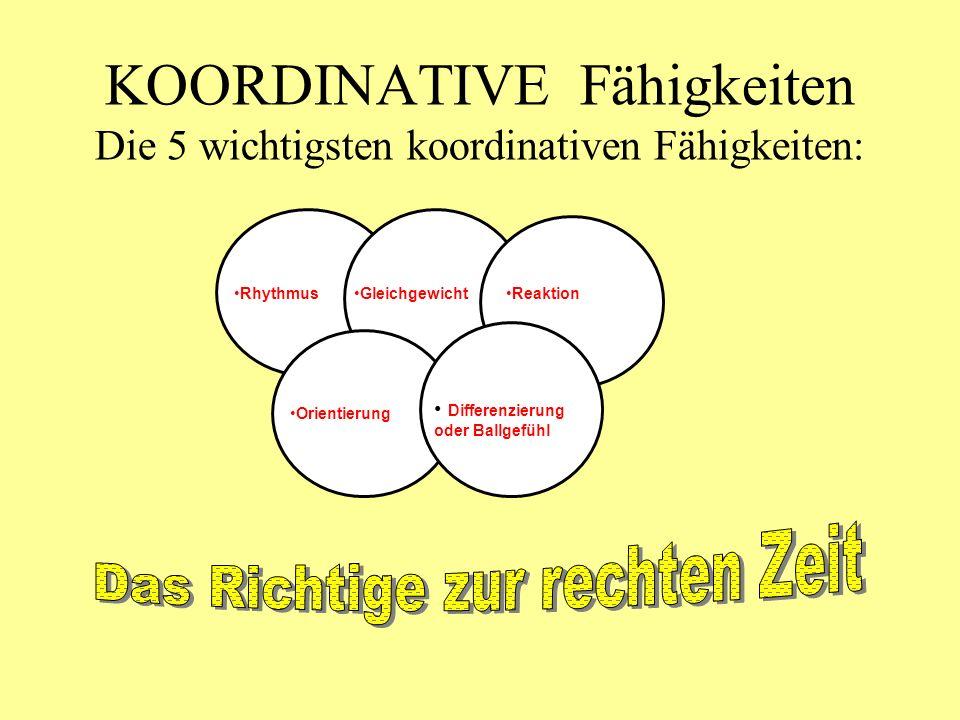 KOORDINATIVE Fähigkeiten Die 5 wichtigsten koordinativen Fähigkeiten: Gleichgewicht Orientierung Differenzierung oder Ballgefühl RhythmusReaktion