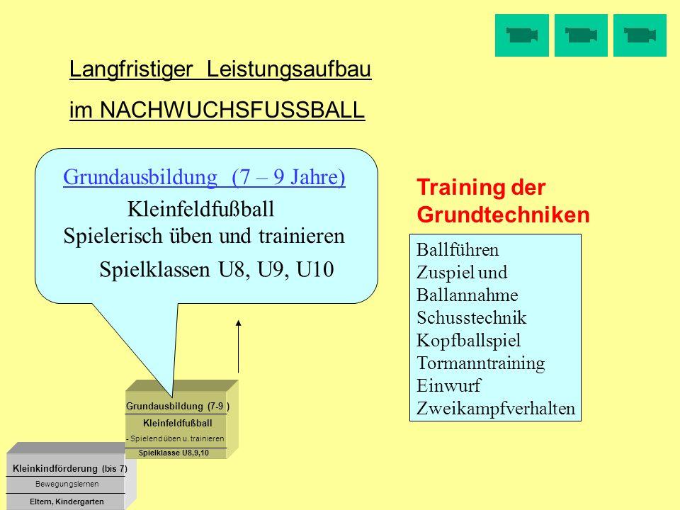 Kleinkindförderung (bis 7) Grundausbildung (7-9 ) Kleinfeldfußball Bewegungslernen Eltern, Kindergarten Spielklasse U8,9,10 Langfristiger Leistungsauf