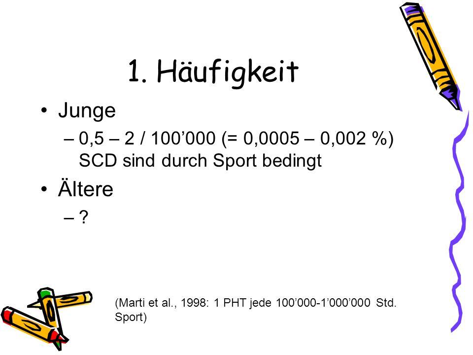1. Häufigkeit Junge –0,5 – 2 / 100000 (= 0,0005 – 0,002 %) SCD sind durch Sport bedingt Ältere –? (Marti et al., 1998: 1 PHT jede 100000-1000000 Std.