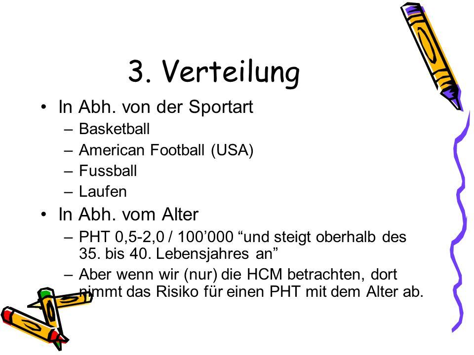 3. Verteilung In Abh. von der Sportart –Basketball –American Football (USA) –Fussball –Laufen In Abh. vom Alter –PHT 0,5-2,0 / 100000 und steigt oberh