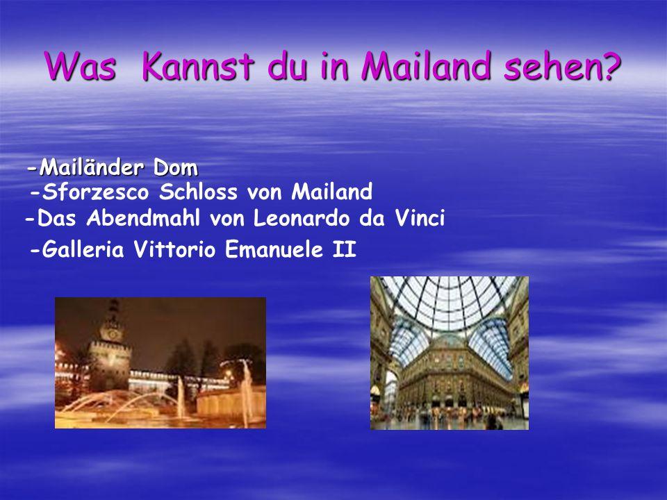 Was Kannst du in Mailand sehen? -Mailänder Dom -Sforzesco Schloss von Mailand -Das Abendmahl von Leonardo da Vinci -Galleria Vittorio Emanuele II