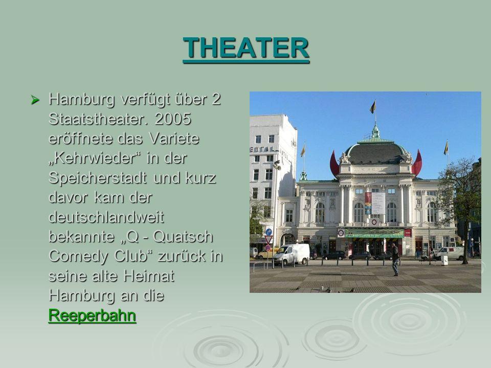 THEATER Hamburg verfügt über 2 Staatstheater.