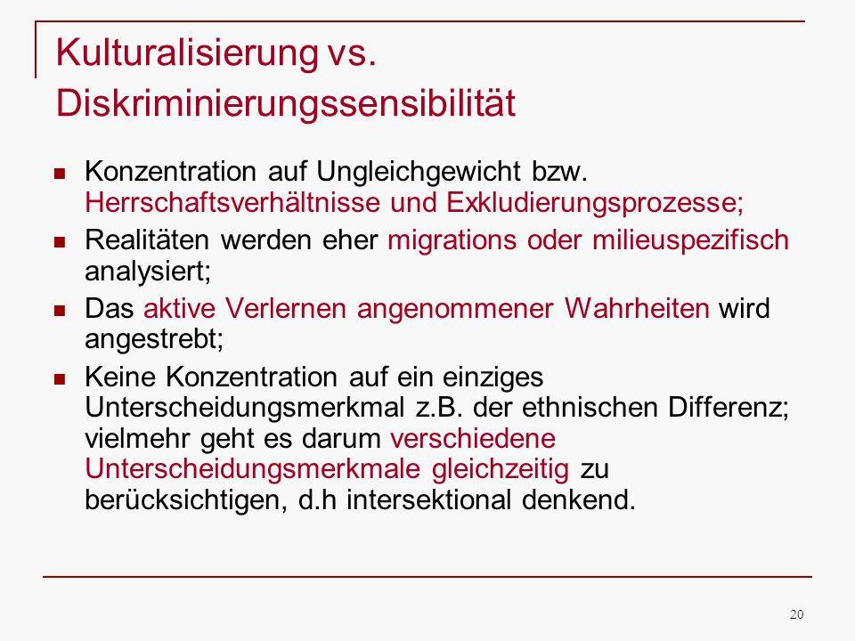 20 Kulturalisierung vs. Diskriminierungssensibilität Konzentration auf Ungleichgewicht bzw. Herrschaftsverhältnisse und Exkludierungsprozesse; Realitä