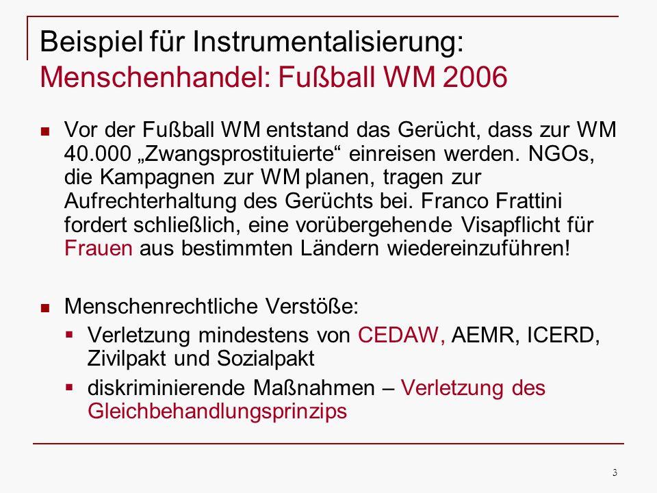 3 Beispiel für Instrumentalisierung: Menschenhandel: Fußball WM 2006 Vor der Fußball WM entstand das Gerücht, dass zur WM 40.000 Zwangsprostituierte einreisen werden.