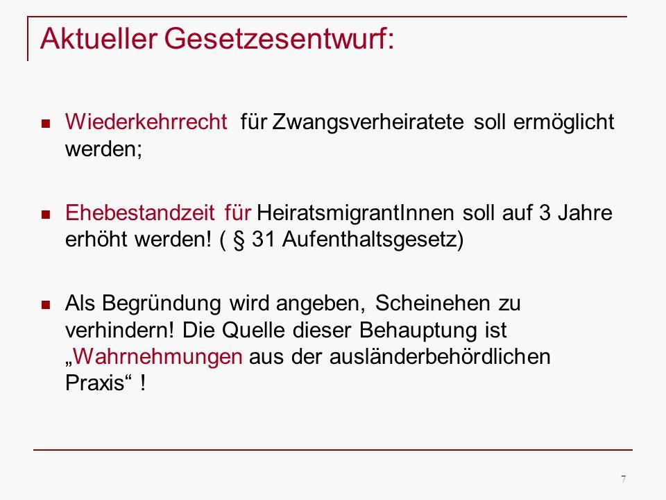 8 Menschenrechtliche Sicht: Der UN Ausschuss zur Beseitigung der Diskriminierung der Frau hat in seinem letzten Kommentar zu Deutschland u.a.