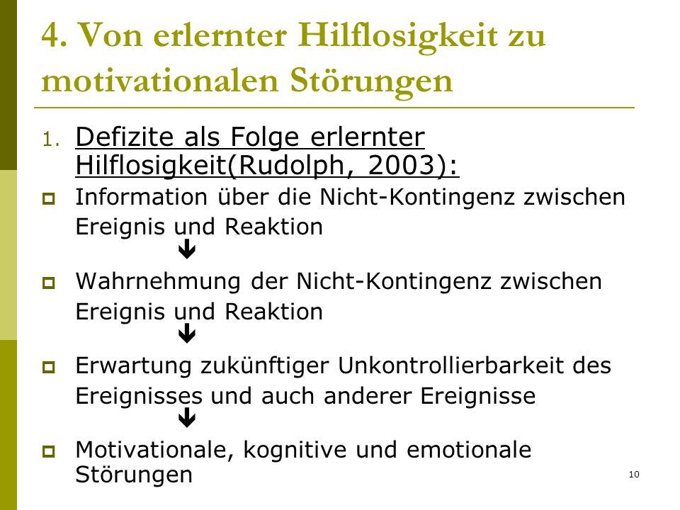 10 4. Von erlernter Hilflosigkeit zu motivationalen Störungen 1. Defizite als Folge erlernter Hilflosigkeit(Rudolph, 2003): Information über die Nicht