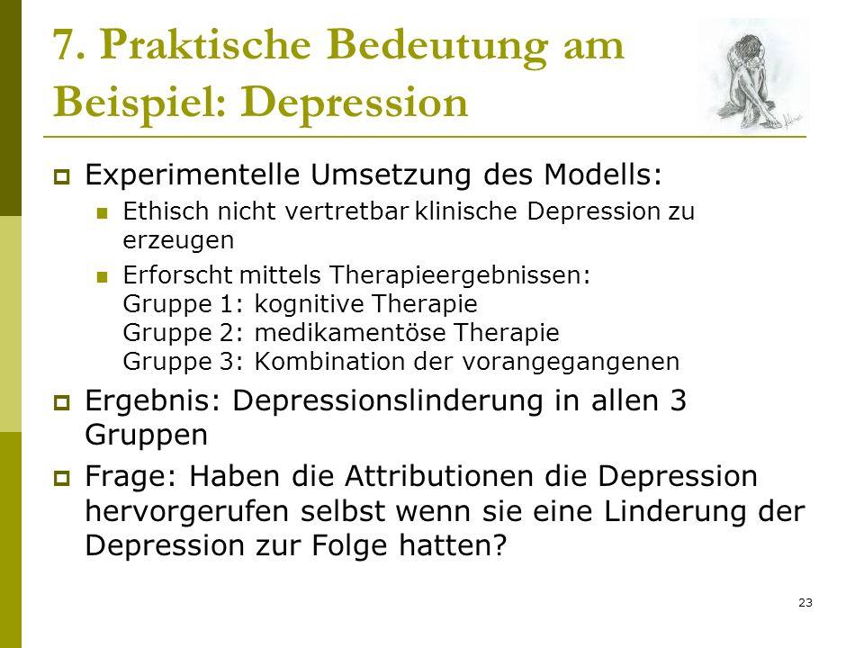 23 7. Praktische Bedeutung am Beispiel: Depression Experimentelle Umsetzung des Modells: Ethisch nicht vertretbar klinische Depression zu erzeugen Erf