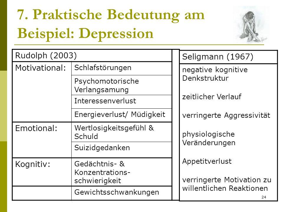 24 7. Praktische Bedeutung am Beispiel: Depression Rudolph (2003) Motivational: Schlafstörungen Psychomotorische Verlangsamung Interessenverlust Energ