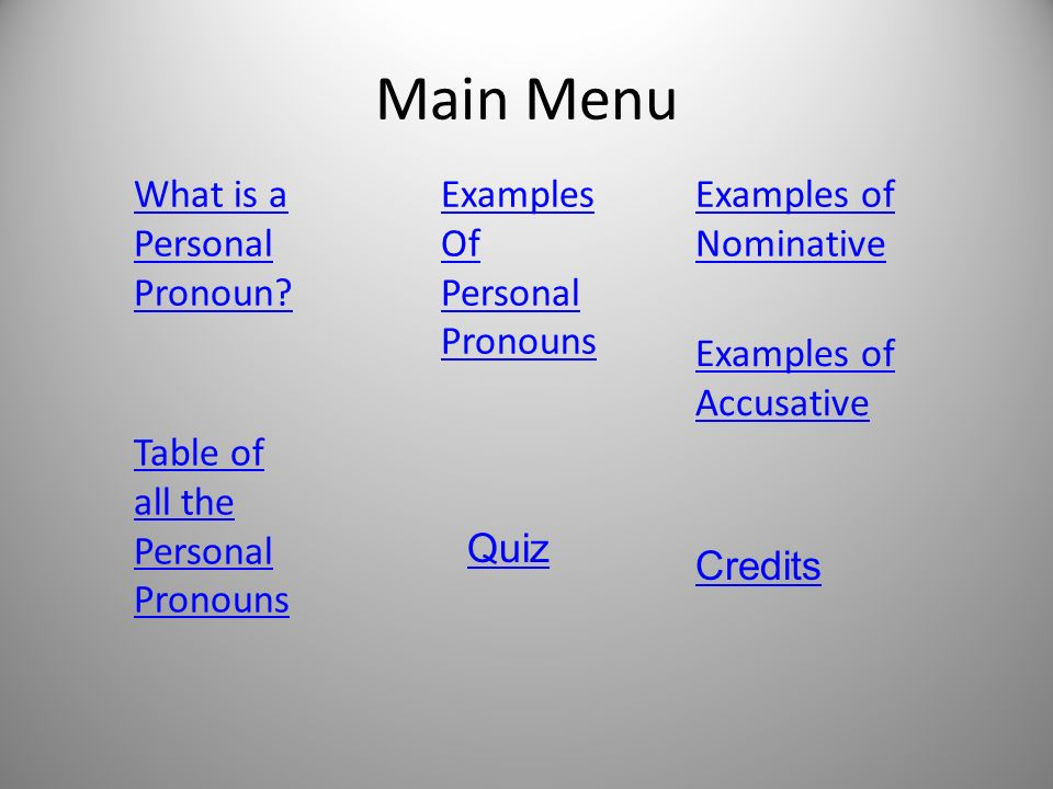 Main Menu What is a Personal Pronoun? Examples Of Personal Pronouns Examples of Nominative Table of all the Personal Pronouns Examples of Accusative Q