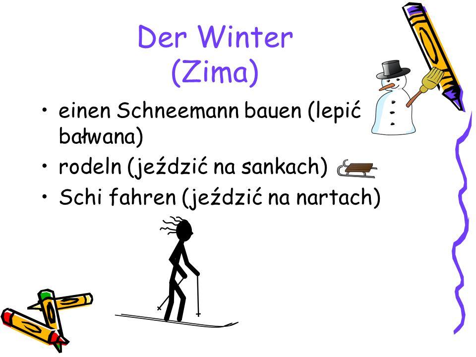Der Winter (Zima) einen Schneemann bauen (lepić bałwana) rodeln (jeździć na sankach) Schi fahren (jeździć na nartach)