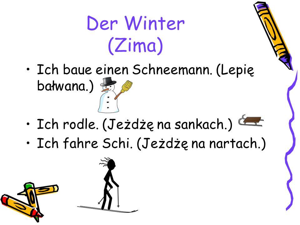 Der Winter (Zima) Ich baue einen Schneemann. (Lepię bałwana.) Ich rodle.