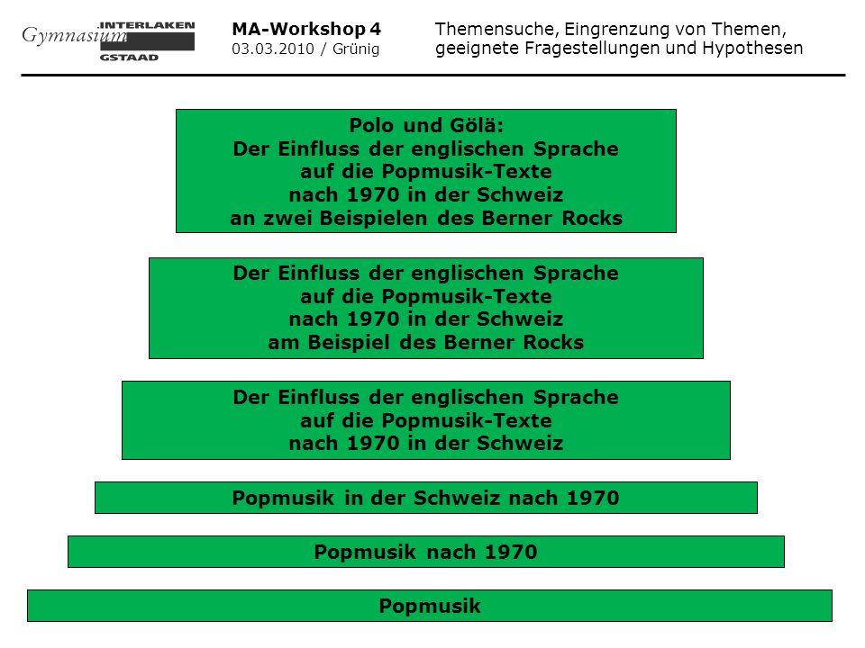 MA-Workshop 4 Themensuche, Eingrenzung von Themen, 03.03.2010 / Grünig geeignete Fragestellungen und Hypothesen Popmusik Popmusik nach 1970 Popmusik i