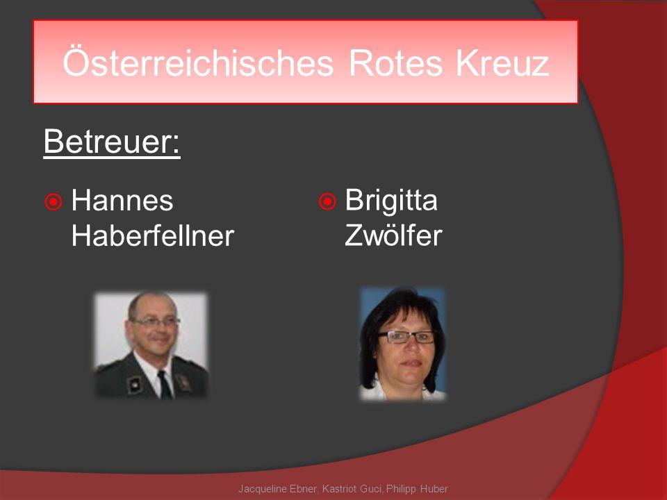 Österreichisches Rotes Kreuz Betreuer: Hannes Haberfellner Brigitta Zwölfer Jacqueline Ebner, Kastriot Guci, Philipp Huber