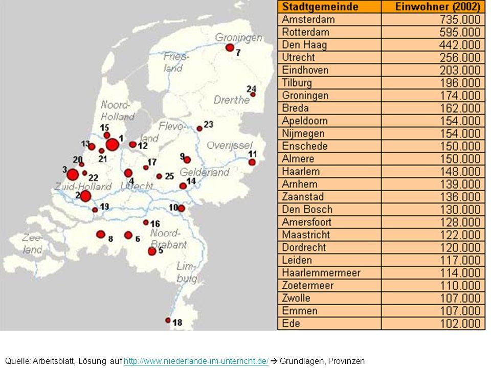 Quelle: Arbeitsblatt, Lösung auf http://www.niederlande-im-unterricht.de/ Grundlagen, Provinzenhttp://www.niederlande-im-unterricht.de/