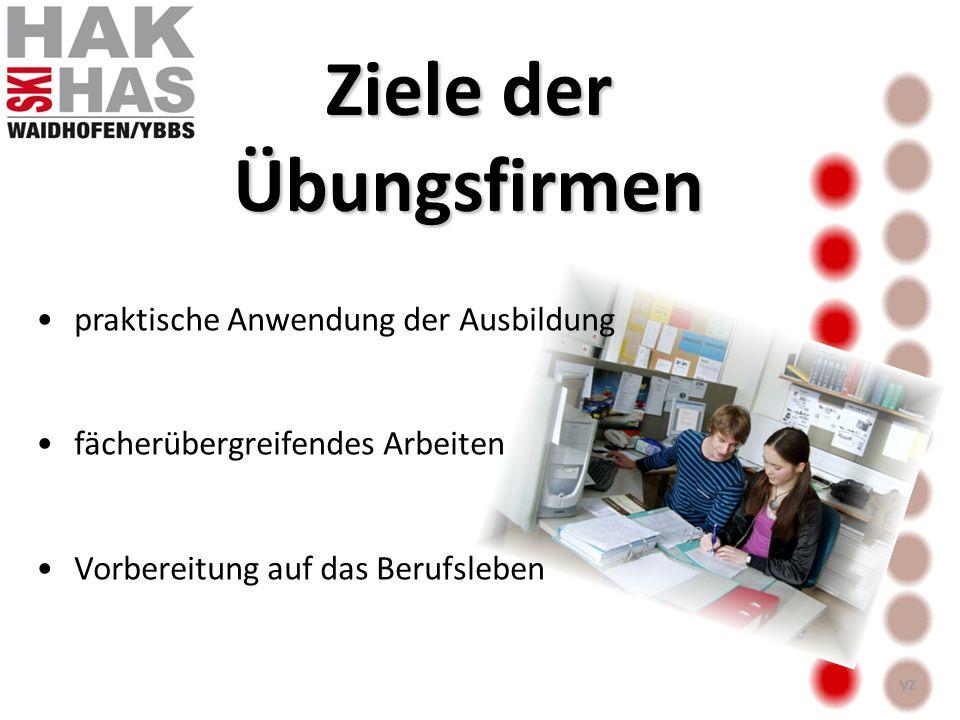 praktische Anwendung der Ausbildung fächerübergreifendes Arbeiten Vorbereitung auf das Berufsleben Ziele der Übungsfirmen