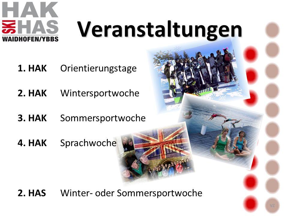 Veranstaltungen 1. HAKOrientierungstage 2. HAKWintersportwoche 3. HAKSommersportwoche 4. HAKSprachwoche 2. HASWinter- oder Sommersportwoche