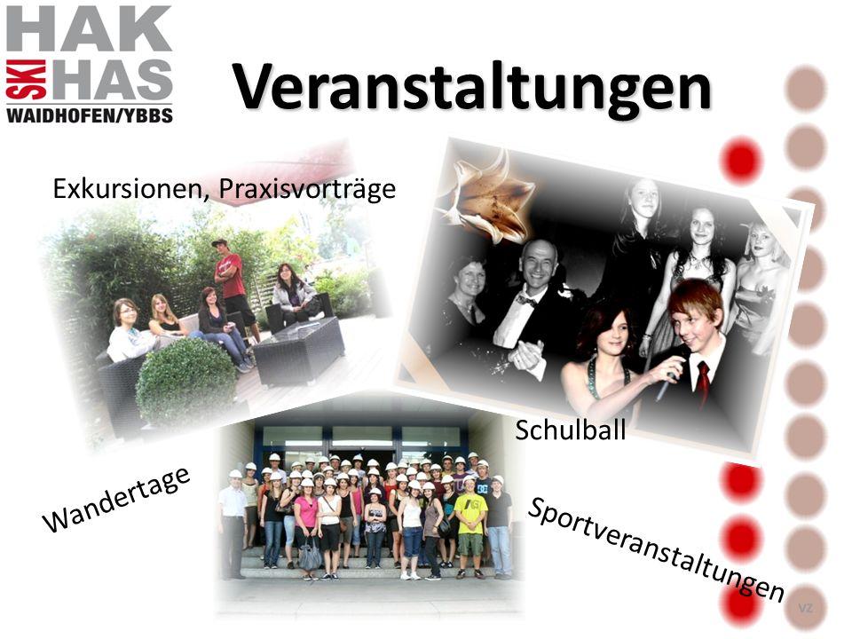 Veranstaltungen Schulball Sportveranstaltungen Wandertage Exkursionen, Praxisvorträge