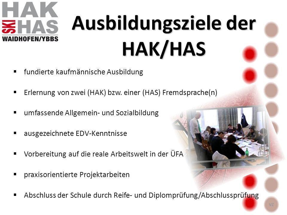 fundierte kaufmännische Ausbildung Erlernung von zwei (HAK) bzw. einer (HAS) Fremdsprache(n) umfassende Allgemein- und Sozialbildung ausgezeichnete ED