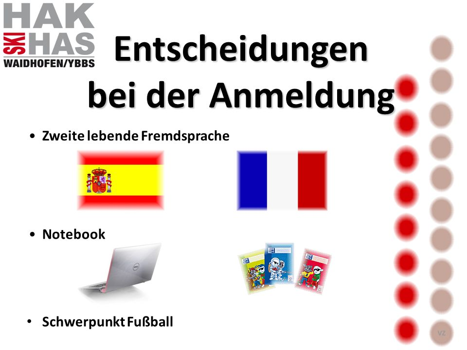 Entscheidungen bei der Anmeldung Zweite lebende Fremdsprache Notebook Schwerpunkt Fußball