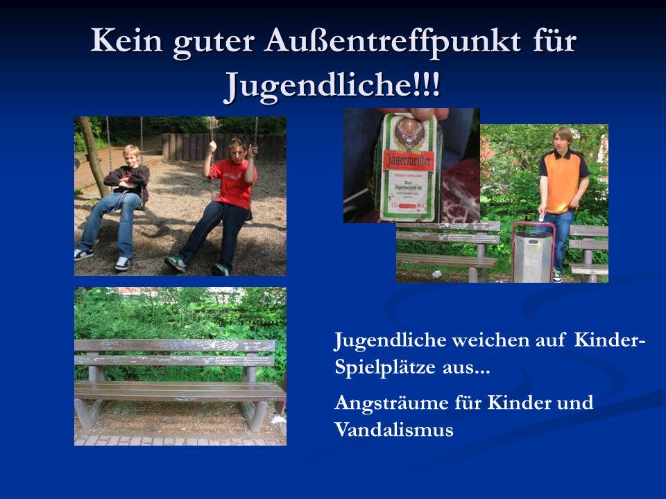 Kein guter Außentreffpunkt für Jugendliche!!! Jugendliche weichen auf Kinder- Spielplätze aus... Angsträume für Kinder und Vandalismus