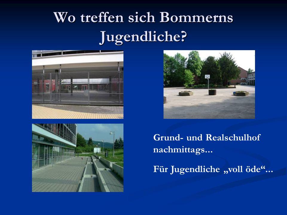 Wo treffen sich Bommerns Jugendliche? Grund- und Realschulhof nachmittags... Für Jugendliche voll öde...