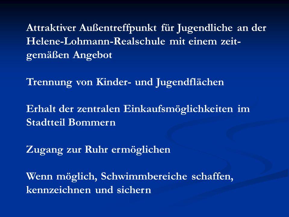 Attraktiver Außentreffpunkt für Jugendliche an der Helene-Lohmann-Realschule mit einem zeit- gemäßen Angebot Trennung von Kinder- und Jugendflächen Er