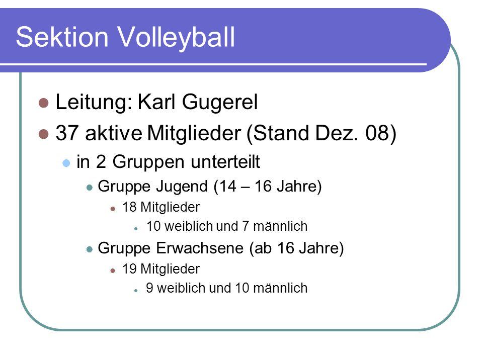 Sektion Volleyball Leitung: Karl Gugerel 37 aktive Mitglieder (Stand Dez. 08) in 2 Gruppen unterteilt Gruppe Jugend (14 – 16 Jahre) 18 Mitglieder 10 w