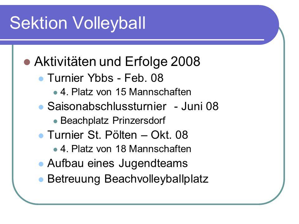 Sektion Volleyball Aktivitäten und Erfolge 2008 Turnier Ybbs - Feb. 08 4. Platz von 15 Mannschaften Saisonabschlussturnier - Juni 08 Beachplatz Prinze