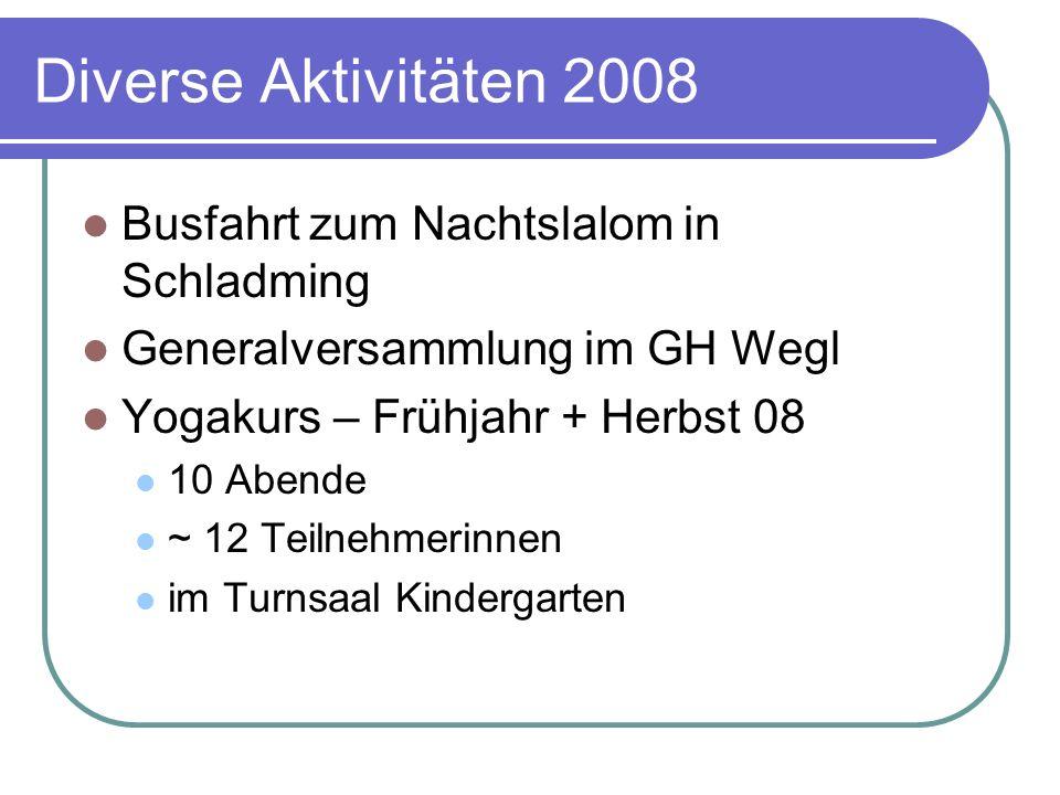 Diverse Aktivitäten 2008 Busfahrt zum Nachtslalom in Schladming Generalversammlung im GH Wegl Yogakurs – Frühjahr + Herbst 08 10 Abende ~ 12 Teilnehme