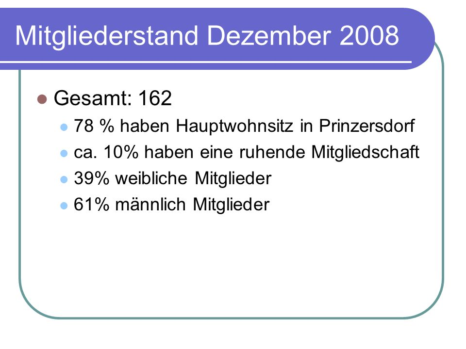 Mitgliederstand Dezember 2008 Gesamt: 162 78 % haben Hauptwohnsitz in Prinzersdorf ca. 10% haben eine ruhende Mitgliedschaft 39% weibliche Mitglieder