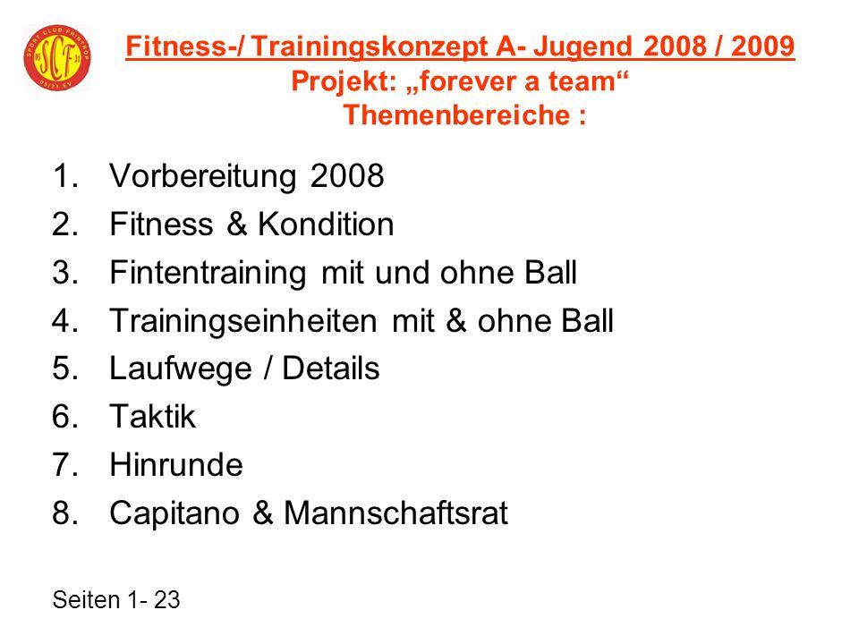 Fitness-/ Trainingskonzept A- Jugend 2008 / 2009 Projekt: forever a team Themenbereiche : 1.Vorbereitung 2008 2.Fitness & Kondition 3.Fintentraining m