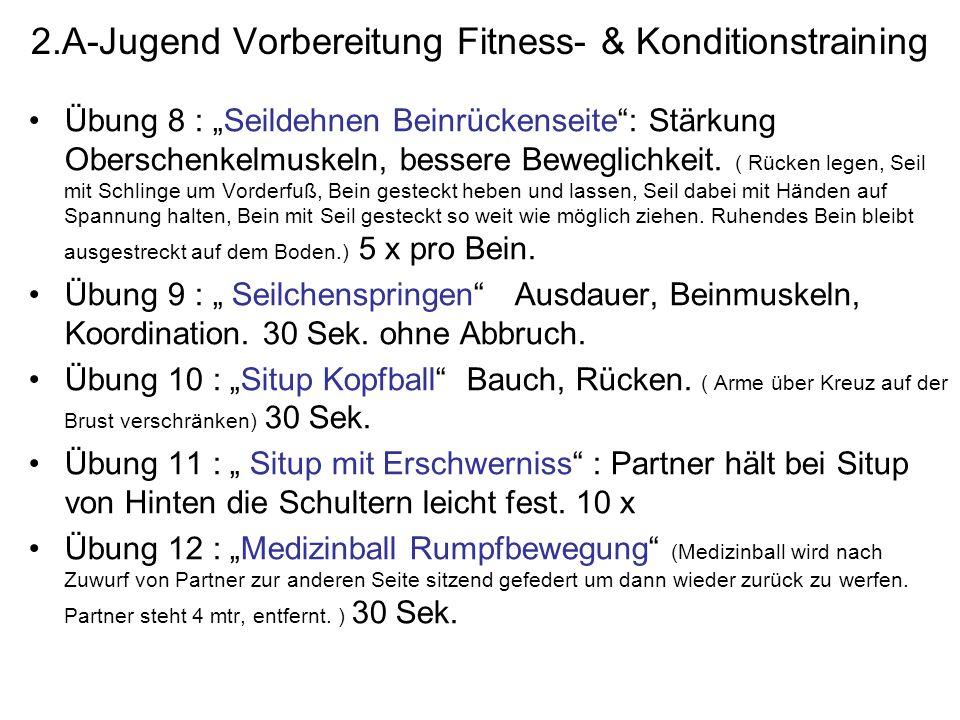 2.A-Jugend Vorbereitung Fitness- & Konditionstraining Übung 8 : Seildehnen Beinrückenseite: Stärkung Oberschenkelmuskeln, bessere Beweglichkeit. ( Rüc