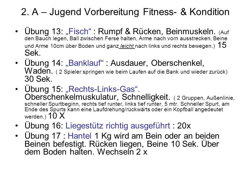 2. A – Jugend Vorbereitung Fitness- & Kondition Übung 13: Fisch : Rumpf & Rücken, Beinmuskeln. (Auf den Bauch legen, Ball zwischen Ferse halten, Arme